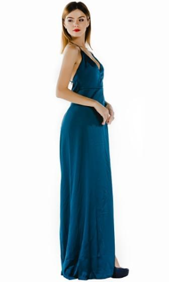 On The A List Emerald Green Spaghetti Strap Cross Wrap V Neck Open Back Thigh  Slit aff875afc