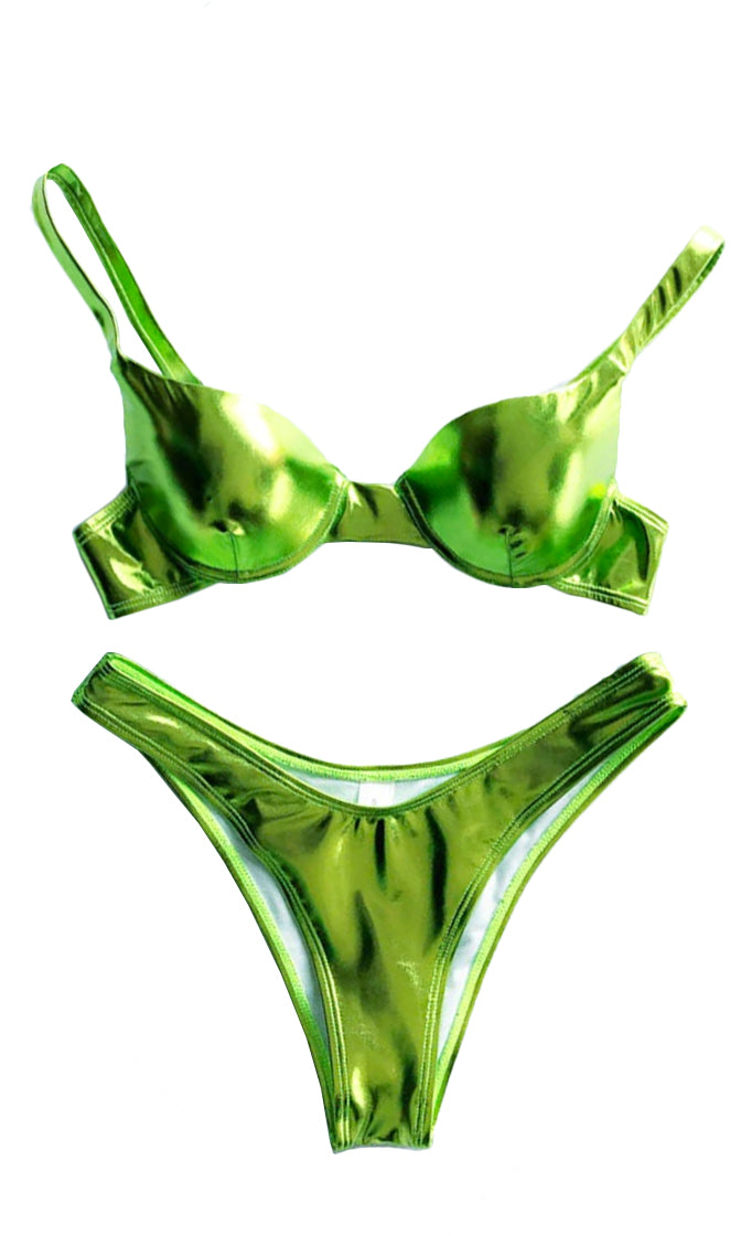Shining In The Sun Green Metallic Spaghetti Strap Push Up Bra Top Low Rise Bikini Two Piece Swimsuit - 4 Colors Available