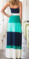 Catalina Weekend Green White Blue Colorblock Stripe Spaghetti Strap V Neck Maxi Dress - Sold Out