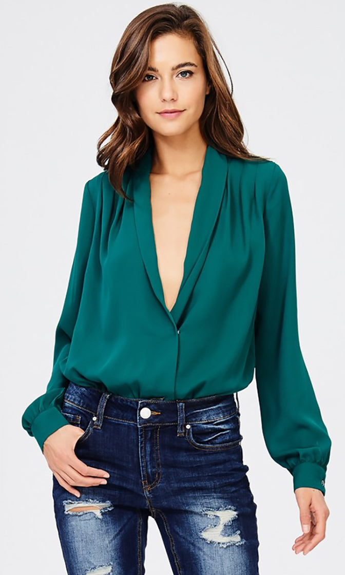 Emerald Garden Green Long Sleeve Plunge V Neck Bodysuit Blouse Top - SOLD OUT