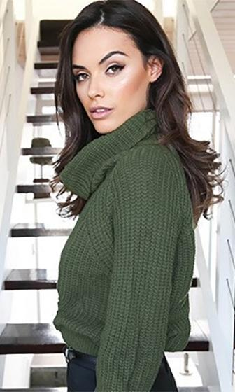 Fireside Lounge Olive Green Cowl Neck Long Sleeve Crop Pullover Sweater