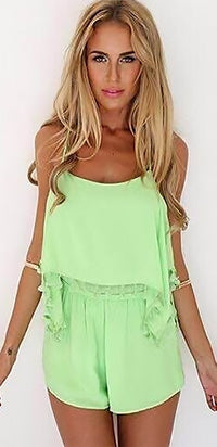 Lime Green Spaghetti Strap Scoop Neck Crop Crochet Trim Short Romper - Sold Out