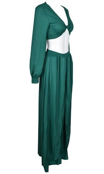 Hear Me Now Green Long Sleeve Knot Plunge V Neck Crop Top Slit Wide Leg Two Piece Jumpsuit - Sold Out