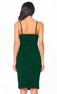 Indie XO Total Bombshell Hunter Green Spaghetti Strap V Neck Cut Out Bodycon Midi Dress - Just Ours! - Sold Out
