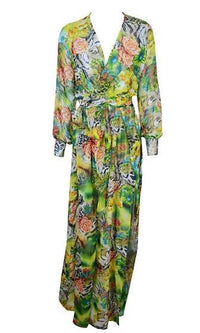 Unforgettable Moment Green White Yellow Orange Pink Floral Animal Print Long Sleeve Cross Wrap V Neck Double High Slit Maxi Dress - Sold Out
