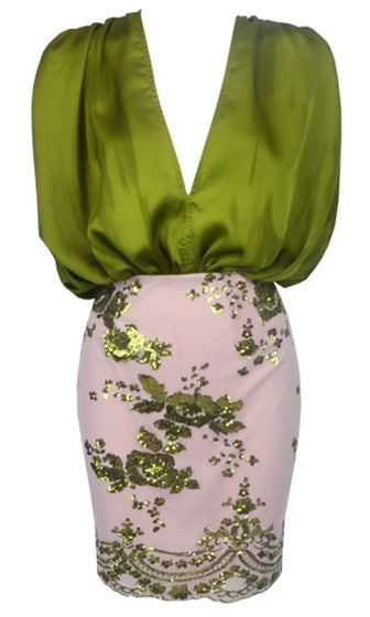 Have It All Green Nude Sleeveless Drape Plunge V Neck Sequin Floral Blouson Mini Dress - Sold Out