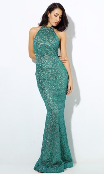 Star Track Green Glitter Sleeveless Scoop Neck Backless Halter Maxi Dress