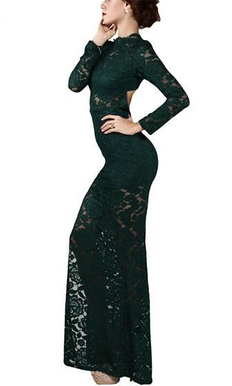 Emerald City Dark Green Lace Long Sleeve Mock Neck High Slit Bodycon Maxi Dress - Sold out