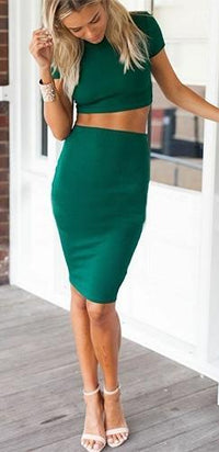 Sweet Nothings Emerald Green Short Sleeve Mock Neck Crop Top Bodycon Midi Skirt Two Piece Dress -  Sold Out