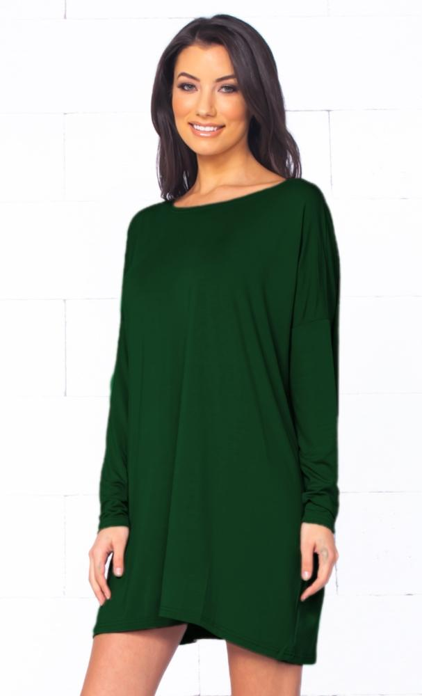 Piko 1988 Christmas Tree Holiday Dark Green Long Sleeve Scoop Neck Piko Bamboo Oversized Basic Tunic Tee Shirt Mini Dress - Limited Edition
