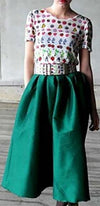 Emerald Green Vintage Ankle Length Pleated Full Maxi Skirt - Sold Out