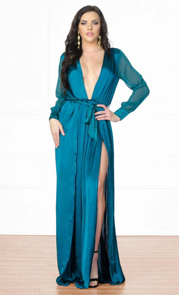 fe344b06f1 Indie XO Loving the Limelight Emerald Green Long Sheer Sleeves Plunge V Neck  Tie Waist Slit