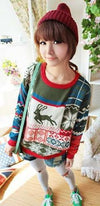 Green Red White Blue Scoop Neck Reindeer Snowflake Long Sleeve Christmas Sweater - Ships on or Before Dec 1st !! - Sold Out