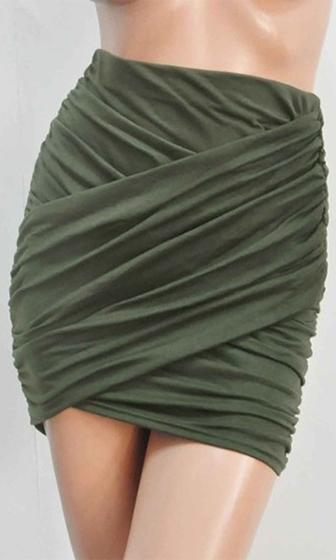 Miami Magic Olive Green Ruched Cross Wrap Bodycon Mini Skirt