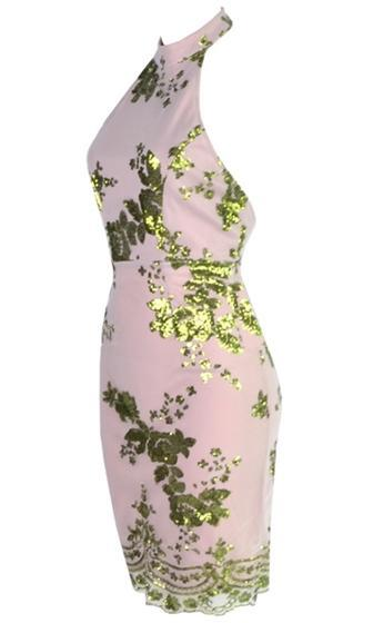 No Time Like Now Green Nude Sleeveless Mock Neck Halter Sequin Floral Backless Bodycon Mini Dress - Sold Out
