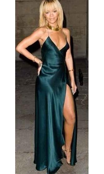 On The A List Emerald Green Spaghetti Strap Cross Wrap V Neck Open Back Thigh Slit Maxi Dress Evening Gown - Inspired by Rihanna - Out Of Stock