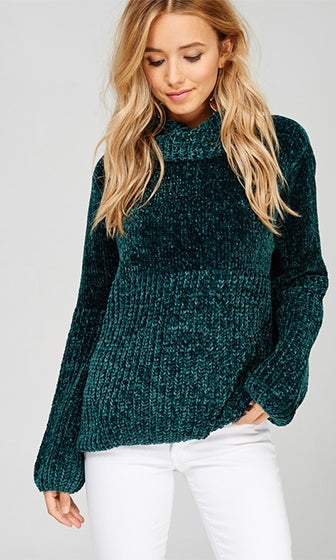 In Your Imagination Chenille Hunter Green Long Lantern Sleeve Turtleneck Chunky Pullover Sweater - Almost Gone!