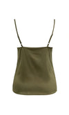 Summer Nights Army Green Satin Sleeveless Spaghetti Strap Draped V Neck Camisole Basic Tank Top Blouse