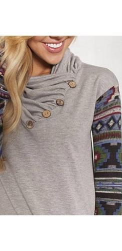 Heather Grey Blue Black Green Burgundy Aztec Tribal Long Sleeve Cowl Neck Button Tunic Top - Sold Out
