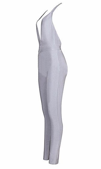 Early Acceptance Light Grey Spaghetti Strap Plunge V Neck Skinny Bandage Jumpsuit - Sold Out