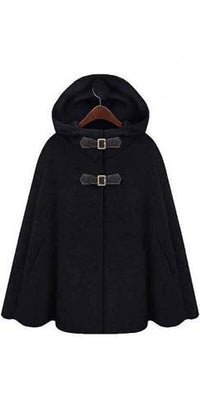 Heather Grey Black Slit Side Hooded Double Buckle Wool Cape Coat - Sold Out
