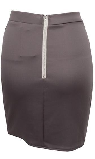 Next Step Grey Cross Wrap Tulip Hem Bodycon Mini Skirt - Sold Out