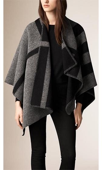 No Restraint Grey Black Wool Color Block Poncho Cape Outerwear Coat Wrap