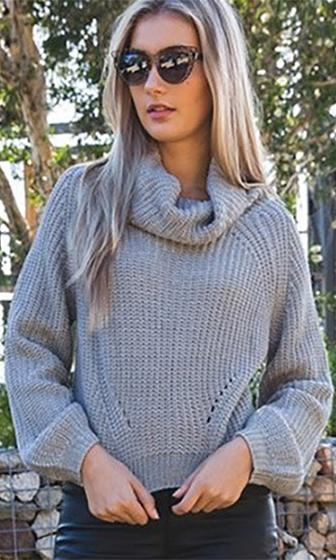 Fireside Lounge Grey Cowl Neck Long Sleeve Crop Pullover Sweater