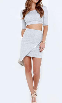 Love Addict Heather Grey Elbow Sleeve Scoop Neck Crop Top Wrap Asymmetric Bodycon Two Piece Mini Dress- Sold Out
