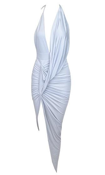 Modern Love Light Grey Spaghetti Strap Plunge Drape V Neck Asymmetric Ruched Backless Halter Maxi Dress - Sold Out