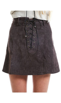 Poetic Justice Dark Grey Faux Suede Lace Up A Line Mini Skirt - Sold Out