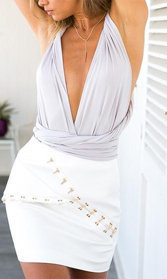 Inner Circle Light Grey Twist Spaghetti Strap Plunge V Neck Tie Back Halter  Bodysuit - Sold 9db1013c3