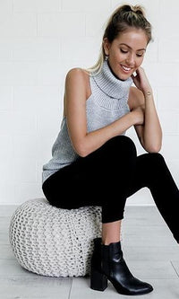 Melrose Stroll Heather Grey Sleeveless Turtleneck Halter Backless Pullover Sweater - Sold Out