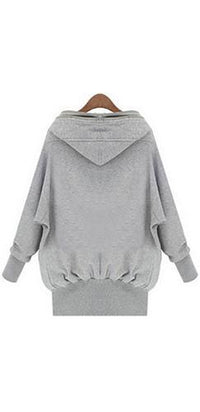 Heather Grey Navy Blue Double Front Zip Long Sleeve Hooded Sweatshirt Jacket - Sold Out