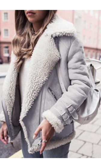 Out In The Cold Grey Ivory Shearling Faux Fur Suede Long Sleeve Buckle Trim Coat - Sold Out