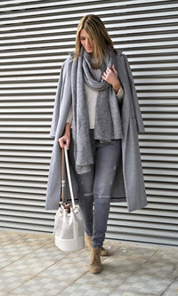 Warming Up Grey Long Sleeve Knee Length Coat - Sold Out