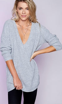 High Alert Heather Grey Long Sleeve Deep V Loose Pullover Sweater  -  Sold Out