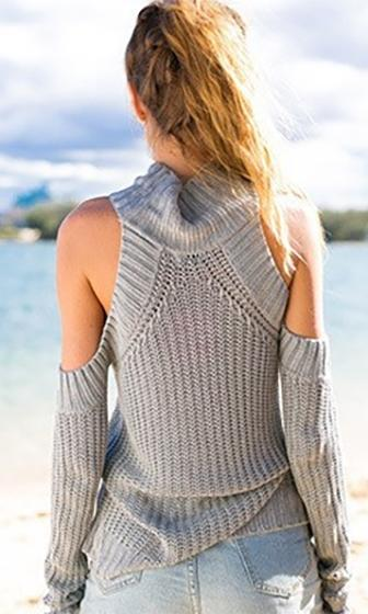 Cold As Ice Grey Long Sleeve Cut Out Shoulder Mock Neck Pullover Sweater