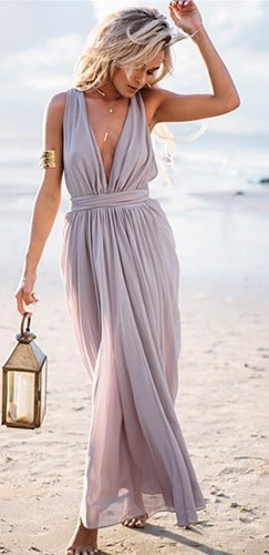Seaside Goddess Grey Sleeveless Plunge V Neck Tie Back