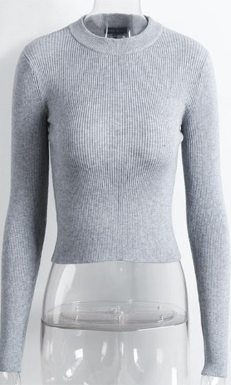 42336de2ac3d Major Player Heather Grey Long Sleeve Mock Neck Ribbed Crop Pullover  Sweater - Sold Out