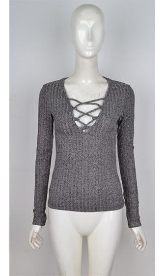 On The Block Grey Melange Long Sleeve Plunge V Ribbed Crisscross Top - Sold Out