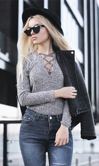 Laced In Love Heather Grey Long Sleeve Lace Up V Neck Bodysuit- Sold Out
