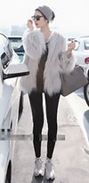 Grey Beige Faux Fur Long Sleeve Shaggy Collarless Jacket - Sold Out