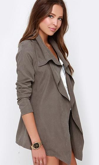 Latest Obsession Grey Long Sleeve Shawl Collar Open Blazer Jacket - Sold Out