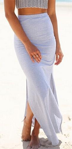 Heather Grey Elastic Waist Double Side Slit Maxi Skirt - Sold Out
