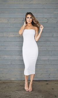 First Heartbreak Grey Strapless Bodycon Midi Dress - Sold Out