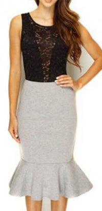 Madison Avenue Heather Grey Bodycon Trumpet Mermaid Midi Skirt - Sold Out