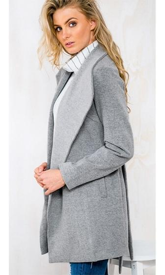 Central Park Grey Long Sleeve Wide Lapel Single Breast Wool Tie Belt Coat - Sold Out