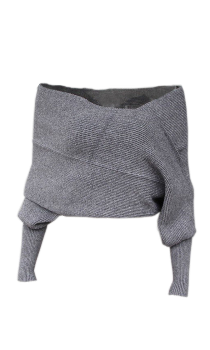 Indie XO Wrapped In Love Grey 3/4 Sleeve Off The Shoulder Cross Wrap V Neck Crop Pullover Sweater
