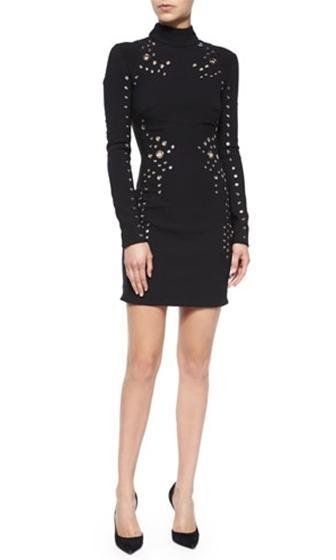 High Profile Black Silver Geometric Grommet Long Sleeve Turtleneck Bodycon Mini Dress - Inspired by Christie Brinkley - Sold Out